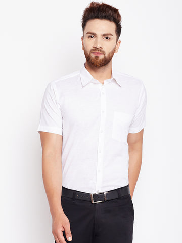 Hancock White Solid  Cotton Linen Slim Fit Shirt