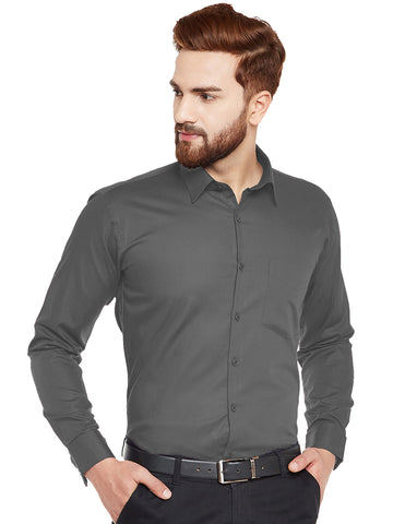 Hancock Dark Grey Solid Slim Fit Pure Cotton Formal Shirt
