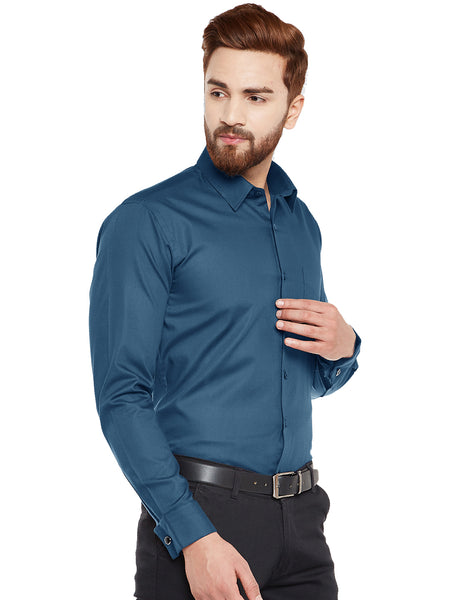 Hancock Turquoise Blue Double Cuffling Sold Slim Fit Formal Shirt
