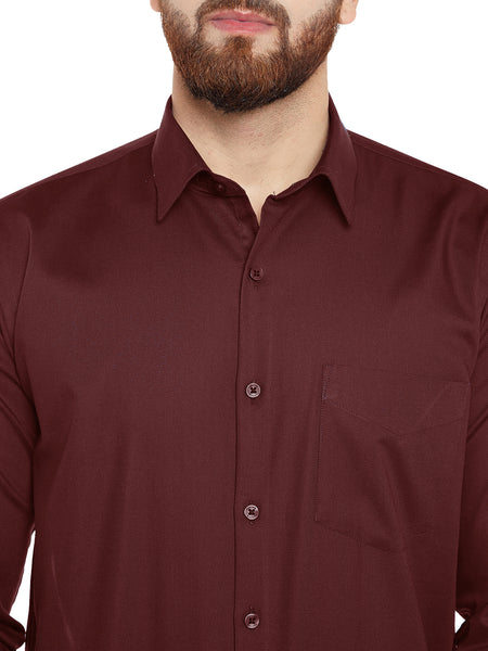 Hancock Maroon Double Cuffling Sold Slim Fit Formal Shirt