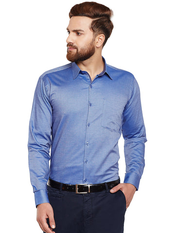 Hancock Blue Self Design Pure Cotton Slim Fit Formal Shirt