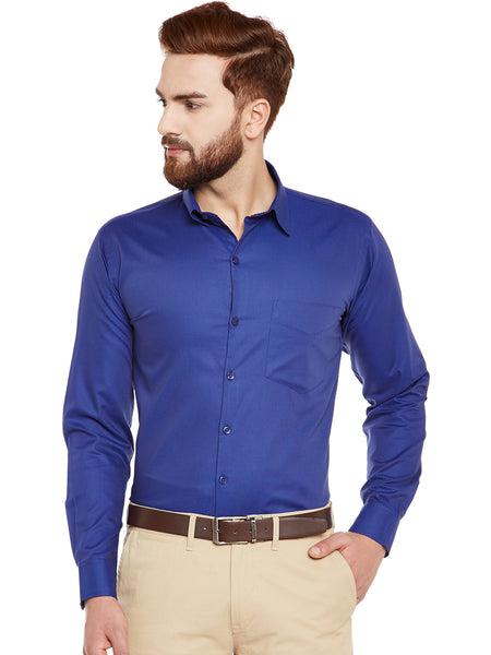 Hancock Navy Self Design Pure Cotton Slim Fit Formal Shirt
