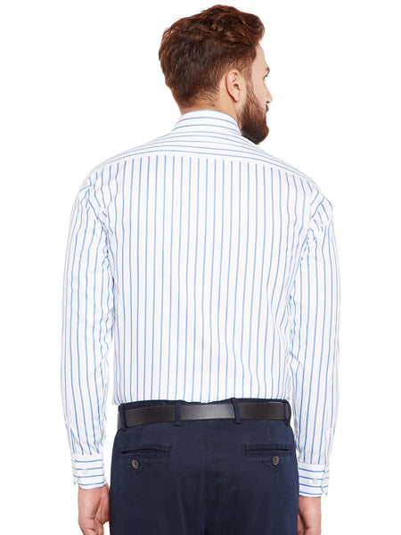 Hancock White Stripes Pure Cotton Slim Fit Formal Shirt