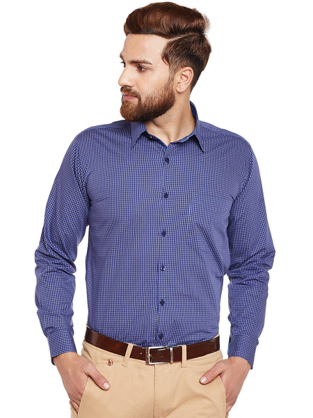 Hancock Navy Checked Pure Cotton Slim Fit Formal Shirt