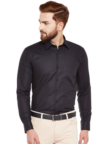 Hancock Black Self Design Pure Cotton Slim Fit Formal Shirt