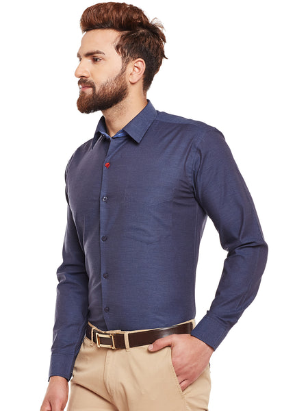 Hancock Navy Solid Herrignbone Pure Cotton Slim Fir Formal Shirt