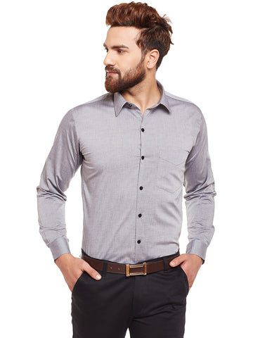 Hancock Grey Solid Chambray Pure Cotton Slim Fit Formal Shirt