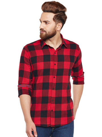 Hancock Red & Black Buffalo Checked Pure Cotton Slim Fit Casual Shirt