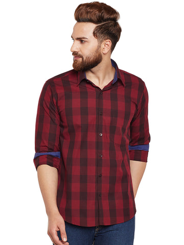 Hancock Maroon Buffalo Checked Pure Cotton Slim Fit Casual Shirt
