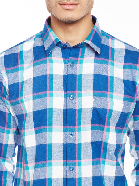 HancockTurquoise Blue Checked Pure Cotton Slim Fit Casual Shirt