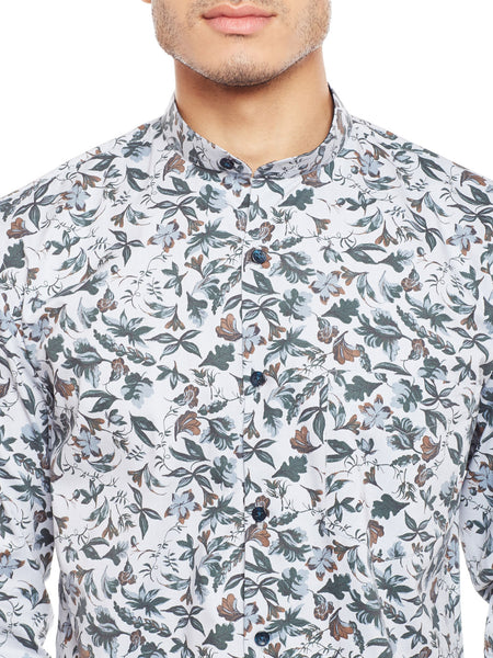 Hancock Grey Printed Pure Cotton Slim Fit Casual Shirt