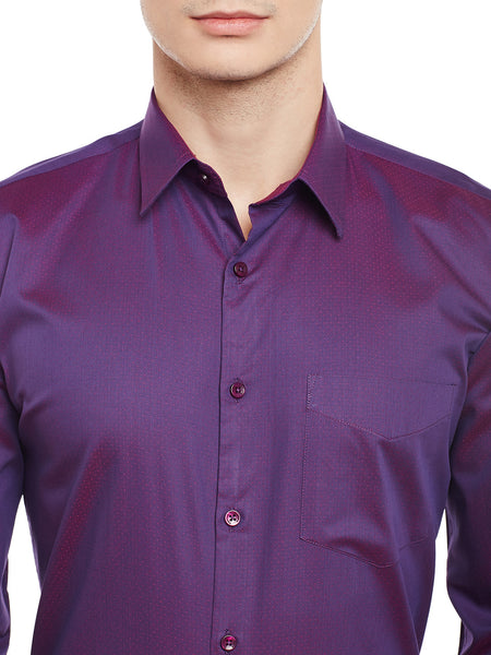 Hancock Wine Solid Pure Cotton Slim Fit Formal Shirt