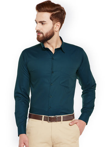 Hancock Turquoise Blue Self Desing Slim Fit Formal Shirt