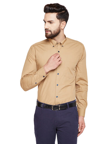 Hancock Khaki Solid Slim Fit Pure Cotton Formal Shirt