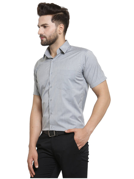 Hancock Grey Solid Slim Fit Cotton Rich Formal Shirt