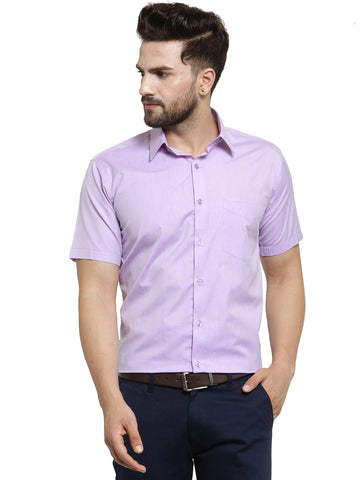 Hancock Purple Solid Slim Fit Cotton Rich Formal Shirt