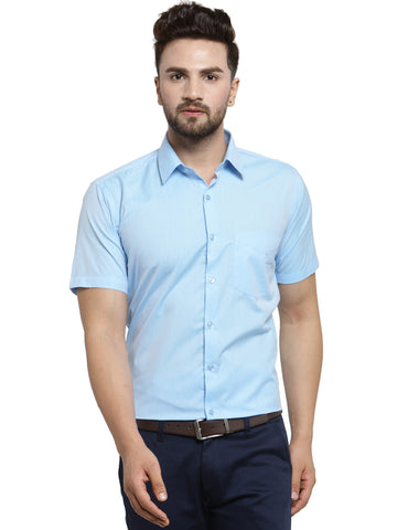 Hancock Sky Blue Solid Slim Fit Cotton Rich Formal Shirt