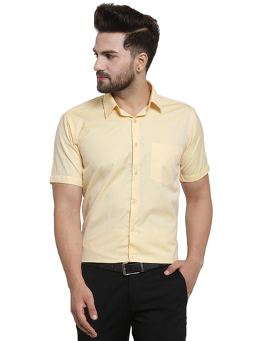 Hancock  Yellow Solid Slim Fit Cotton Rich Formal Shirt
