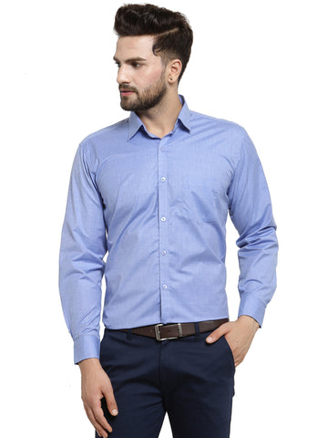 Hancock Blue Solid Slim Fit Pure Cotton Formal Shirt