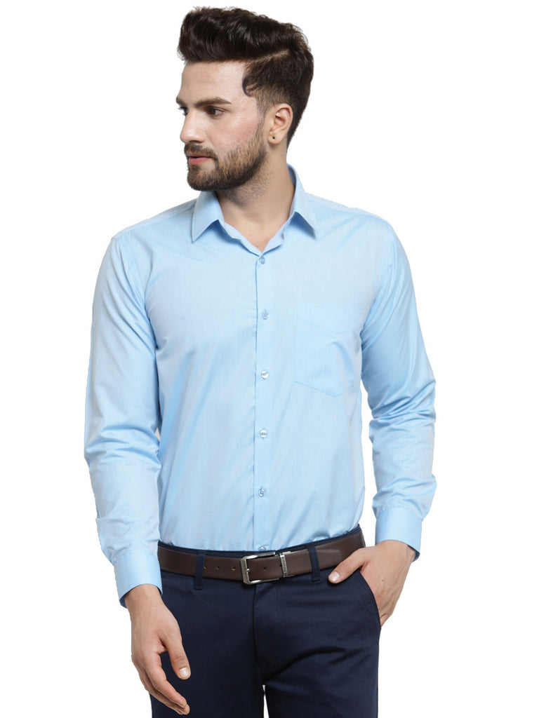 Hancock Sky Blue Solid Slim Fit Pure Cotton Formal Shirt