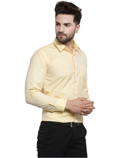Hancock Yellow Solid Slim Fit Pure Cotton Formal Shirt