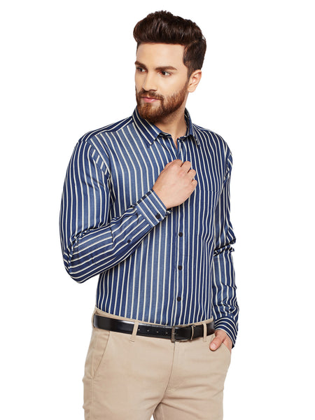 Hancock Navy Blue Stripes Slim Fit Pure Cotton Formal Shirt