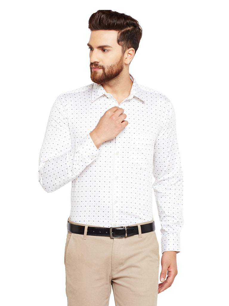Hancock Cream Prints Slim Fit Pure Cotton Formal Shirt