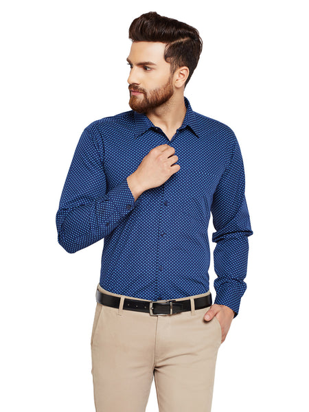 Hancock Navy Blue Prints Slim Fit Pure Cotton Formal Shirt