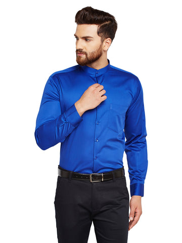 Hancock Royal Blue Solid Slim Fit Pure Cotton Formal Shirt