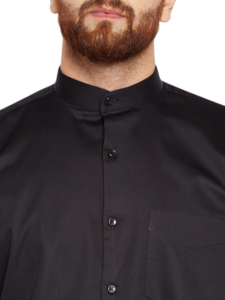 Hancock Black Solid Slim Fit Pure Cotton Formal Shirt