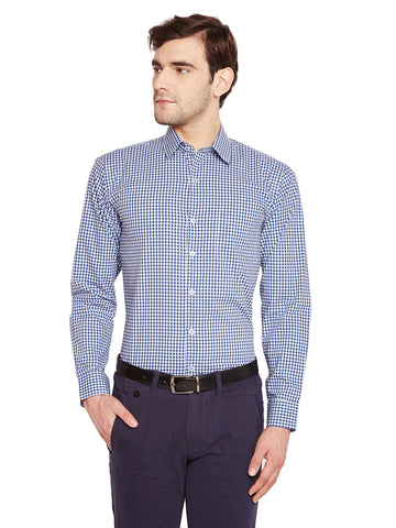 Hancock Blue & White Checks Slim Fit Pure Cotton Formal Shirt