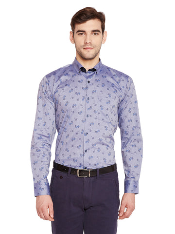 Hancock Blue & Grey Prints Slim Fit Pure Cotton Formal Shirt