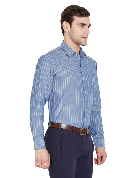 Hancock Blue Stripes Regular Fit Pure Cotton Formal Shirt