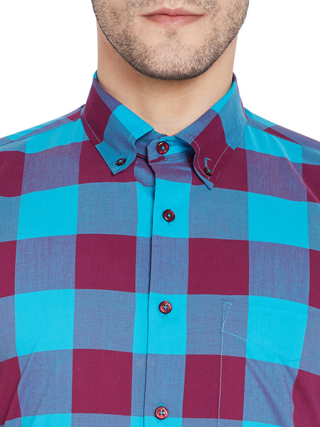Hancock Wine & Turquoise Blue Checks Slim Fit Pure Cotton Formal Shirt