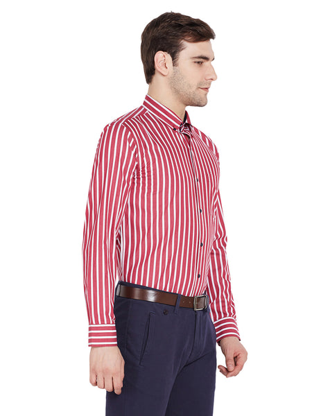 Hancock Red Stripes Slim Fit Pure Cotton Formal Shirt