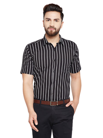 Hancock Black & White Stripes Slim Fit Pure Cotton Formal Shirt