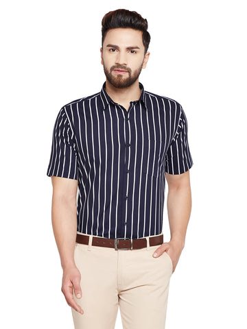 Hancock Navy Blue & White Stripes Slim Fit Pure Cotton Formal Shirt