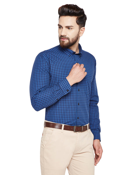Hancock Navy Blue & Blue Checks Slim Fit Pure Cotton Formal Shirt