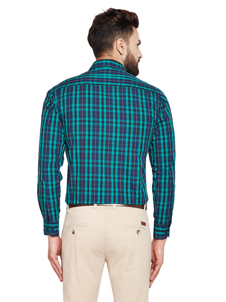 Hancock Green & Navy Blue Checks Slim Fit Pure Cotton Formal Shirt