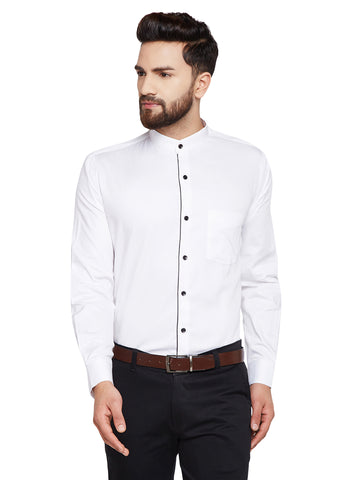 Hancock White Solid Mandarin Collar Slim Fit Pure Cotton Formal Shirt
