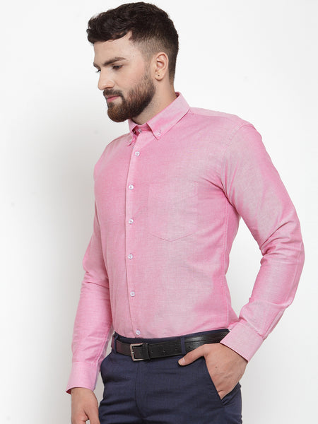 Hancock Men Coral Pure Cotton Solid Slim Fit Formal Shirt
