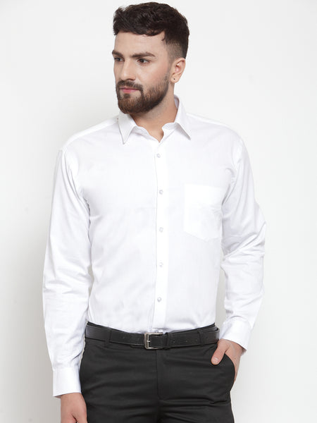 Hancock Men White Pure Cotton Solid Slim Fit Formal Shirt
