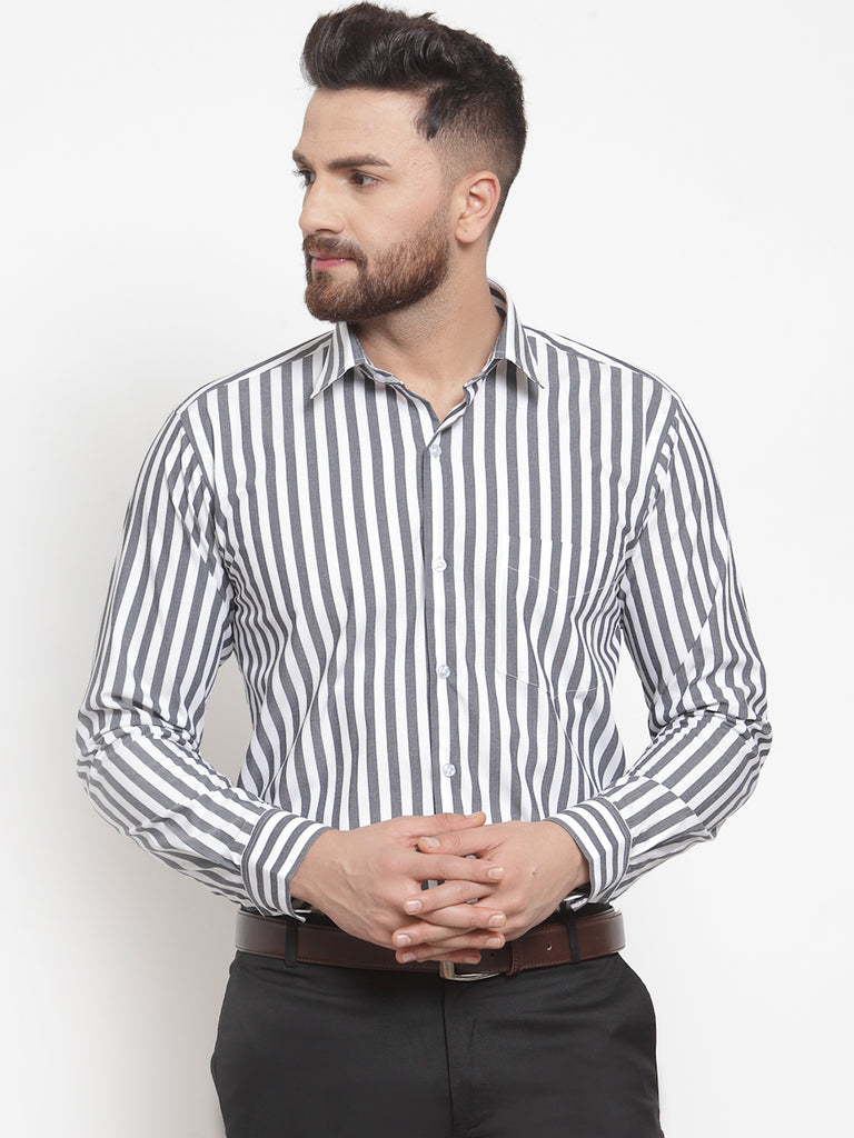 Hancock Men Grey &White Pure Cotton Striped Slim Fit Formal Shirt