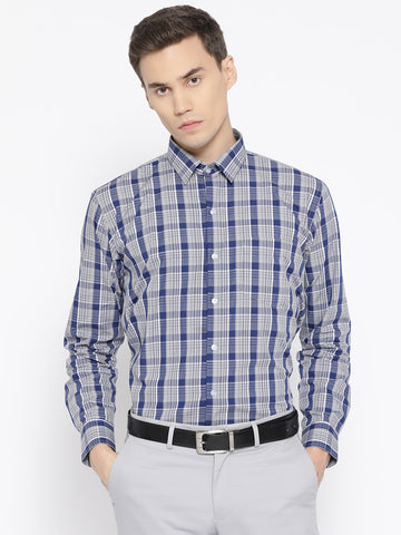 Hancock Men Navy & Grey Pure Cotton Checked Slim Fit Formal Shirt
