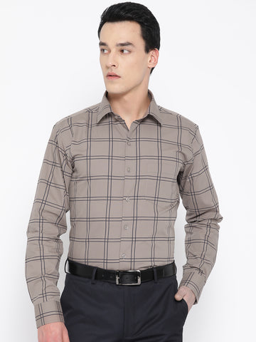 Hancock Men Brown Pure Cotton Checked Slim Fit Formal Shirt
