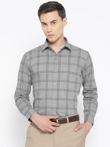 Hancock Men Grey Pure Cotton Checked Slim Fit Formal Shirt