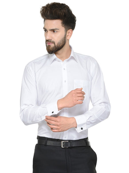 Hancock White Solid Pure Cotton Regular Fit Shirt