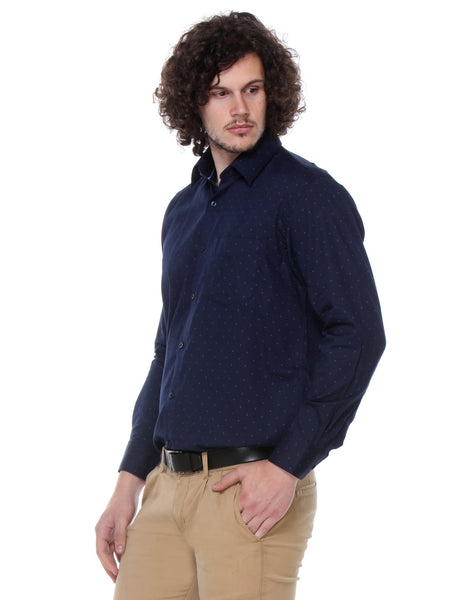 Hancock Navy Regular Fit Print Satin Pure Cotton Shirt