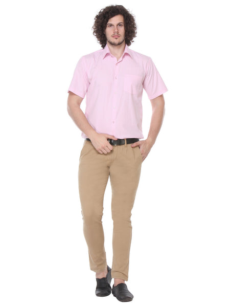 Hancock Pink Regular Fit Print Plain Pure Cotton Shirt