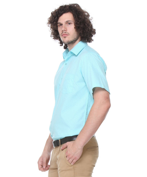 Hancock Sky Blue Regular Fit Solid Pure Cotton Formal Shirt